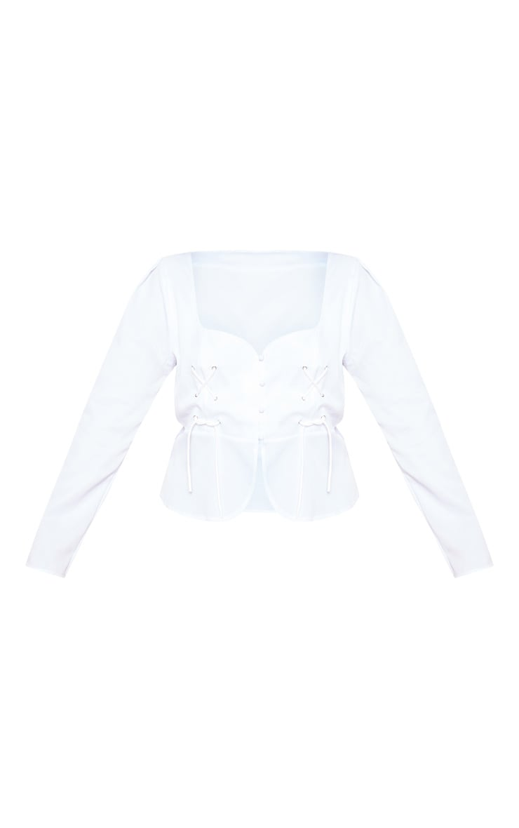 Plus White Tie Detail Eyelet Blouse 3