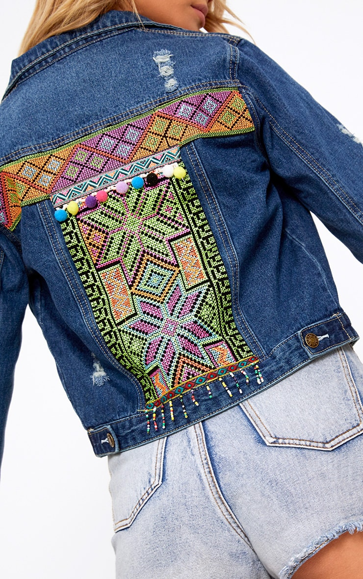 Mid Wash Cross Stitch Detail Denim Jacket 5
