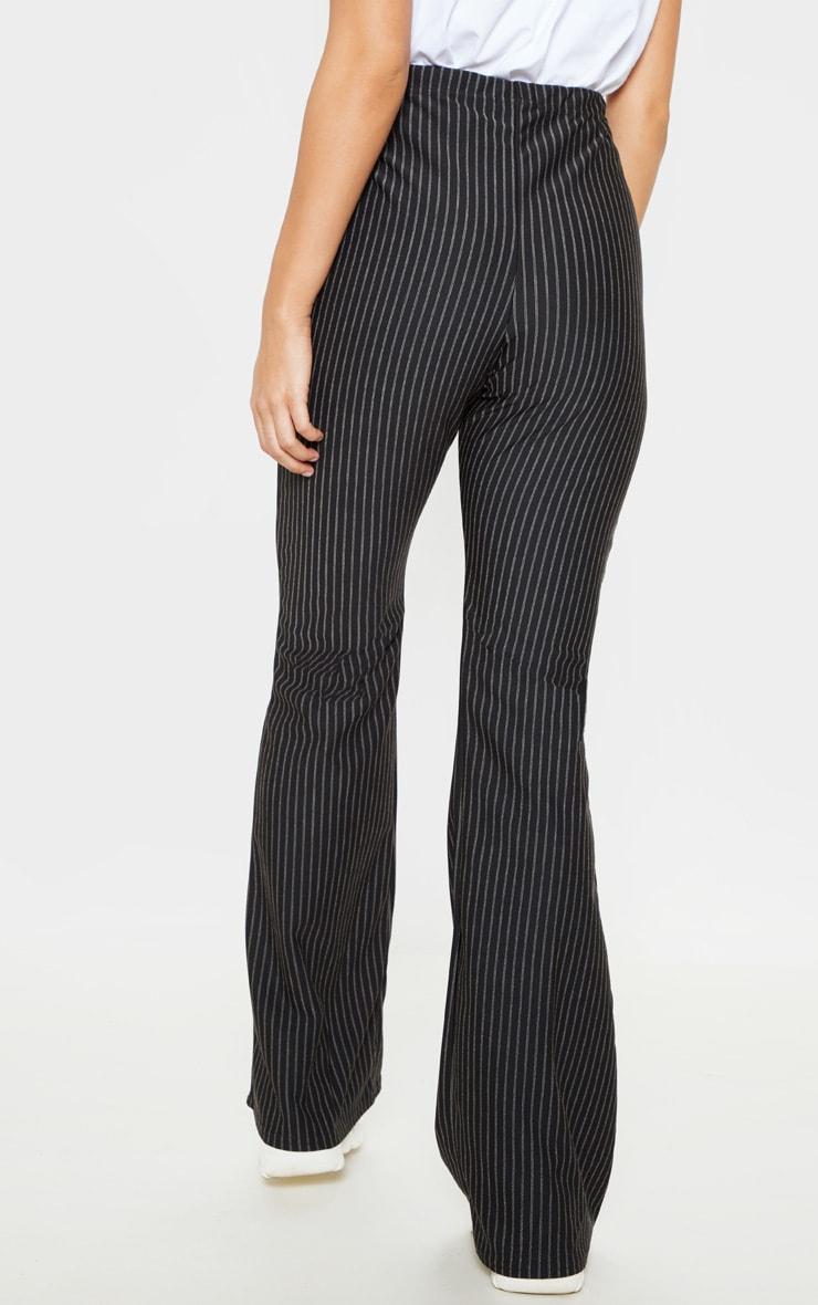 Black Pinstripe Tie Waist Flare Leg Pants 4