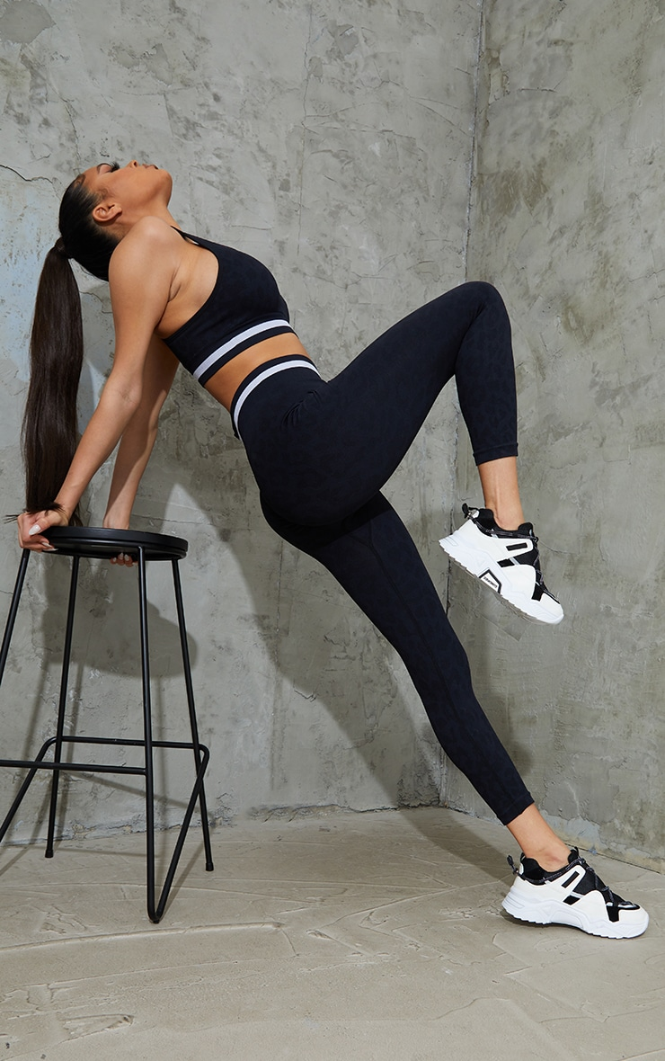 Black Seamless Leopard Stripe Detail Gym Legging 1