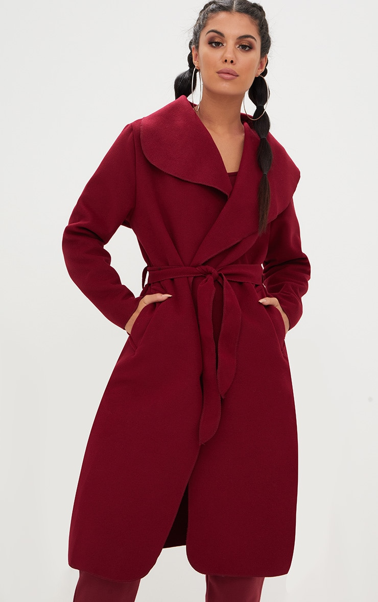 Burgundy Oversized Waterfall Belted Coat 4