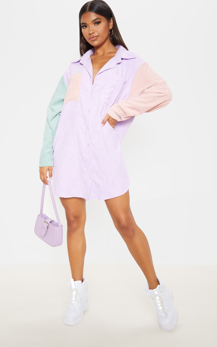 Multi Colour Block Cord Pocket Front Oversized Shirt Dress 4