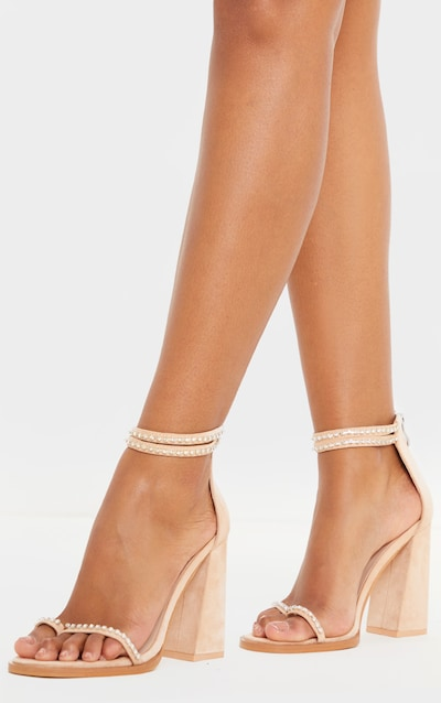 Nude Toe Loop Block Heel Diamante Detail Sandal