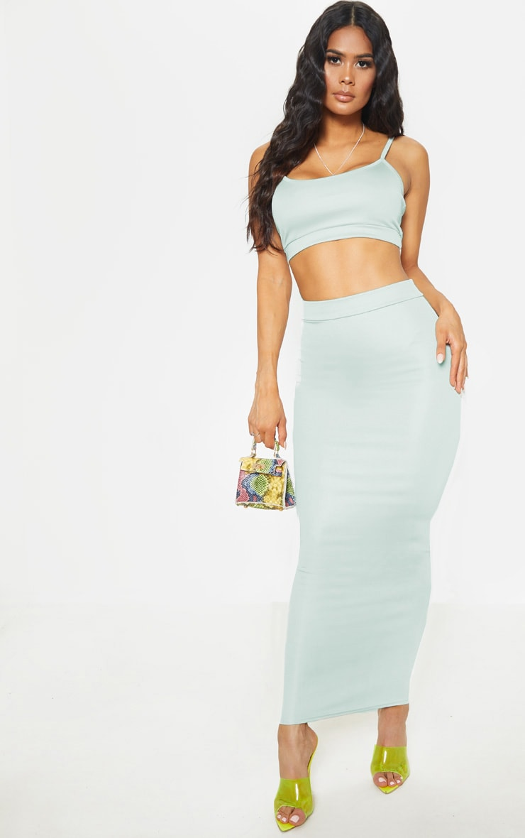 Light Grey High Stretch Maxi Skirt 1