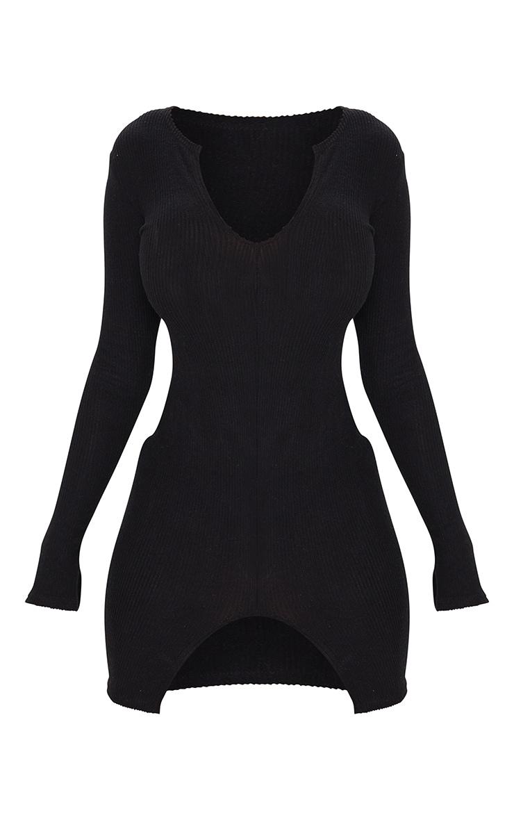 Shape - Robe moulante côtelée brossée noire à fente 5