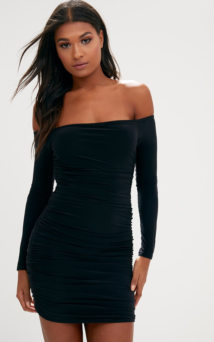 Black Ruched Bardot Bodycon Dress. Dresses  c3a40ac2d