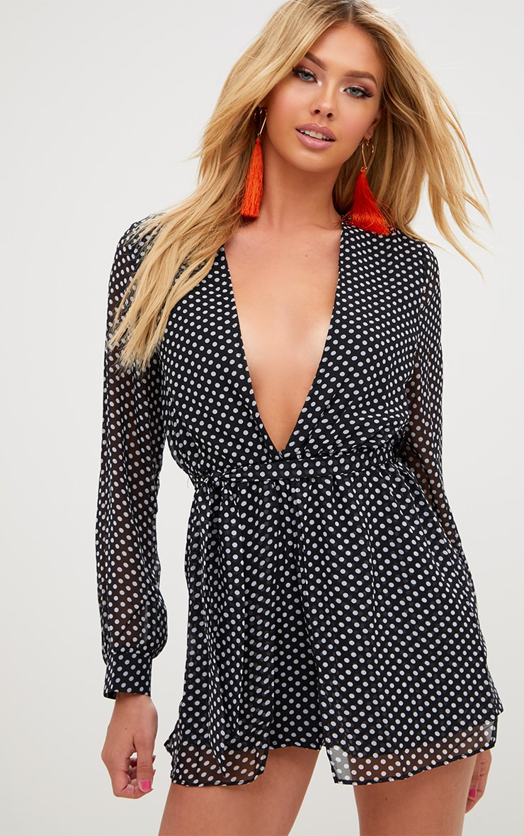 Black Polka Dot Plunge Overlay Playsuit 1