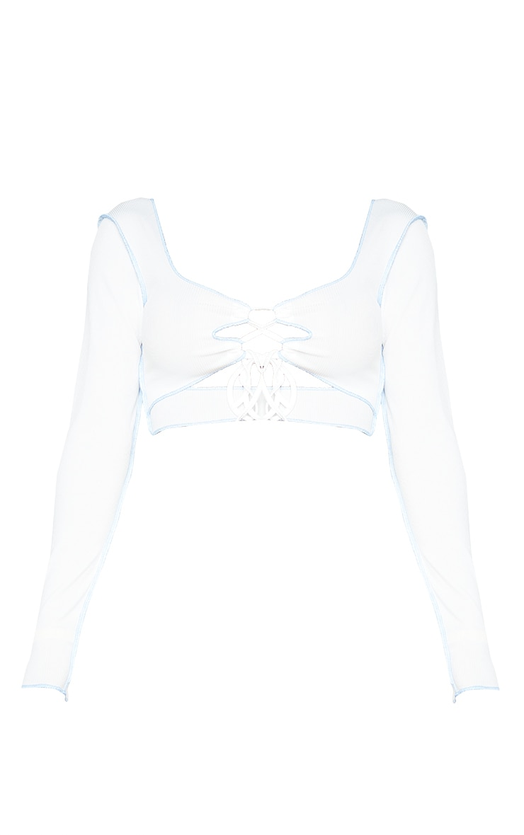 Shape White Rib Contrast Stitch Lace Up Front Crop Top 5