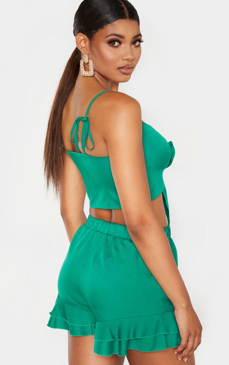 Tall Green Frill Hem Shorts  2