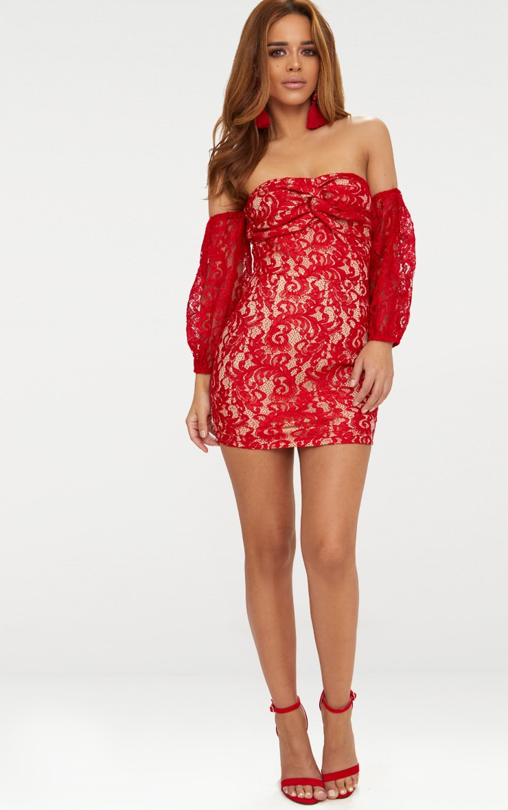Petite Red Lace Puff Sleeve Bodycon Dress 4