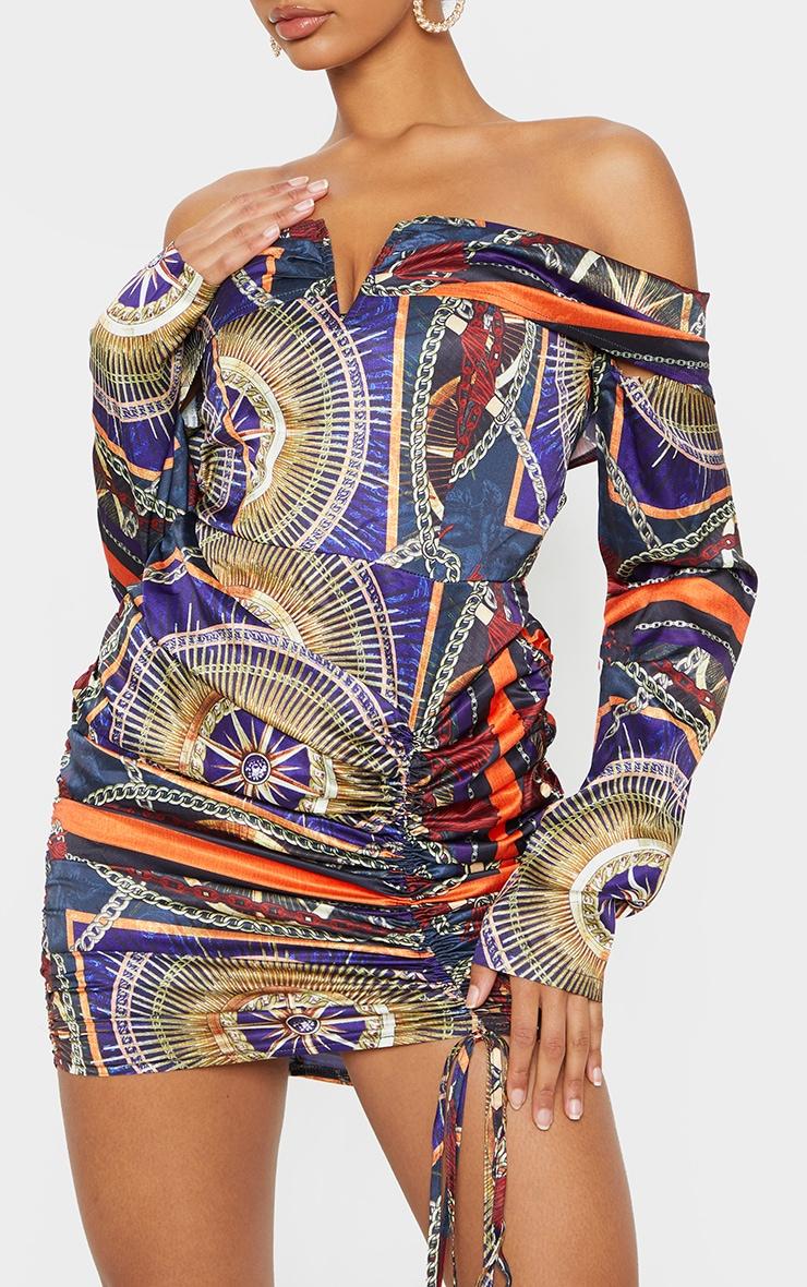 Multi Chain Print Satin V Bar Bardot Bodycon Dress 4