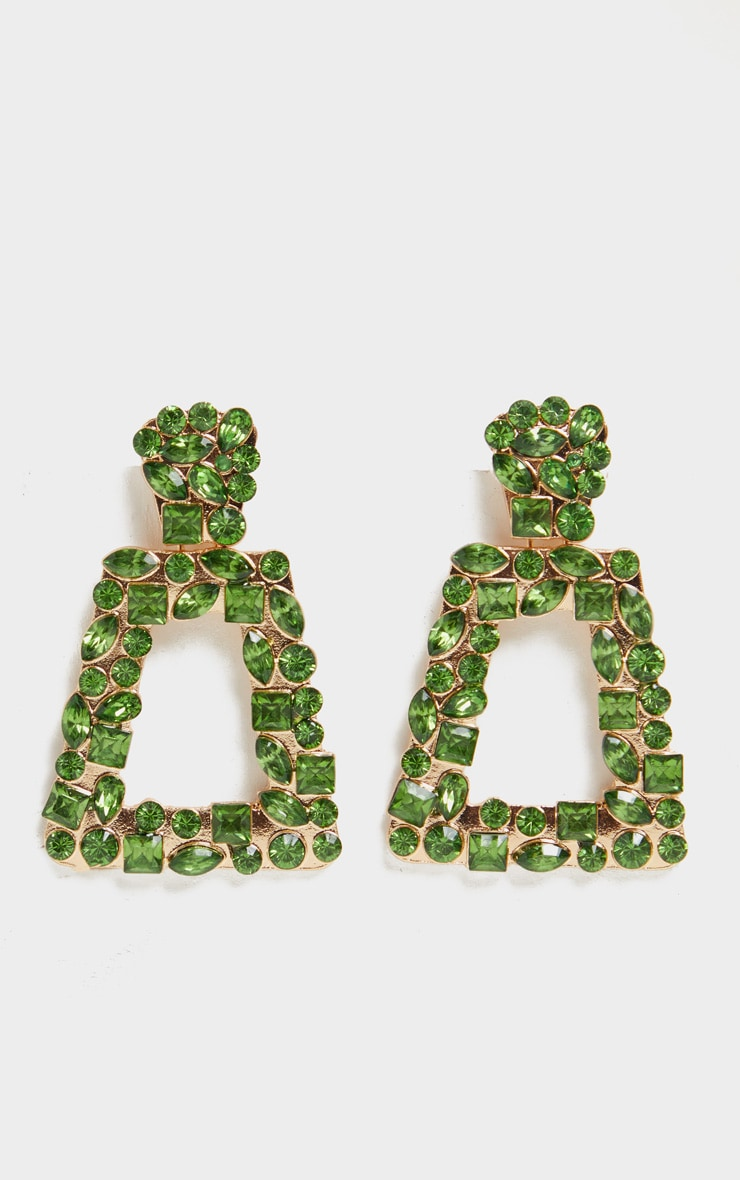 Green Crystal Multi Shape Small Door Knocker Earrings 2