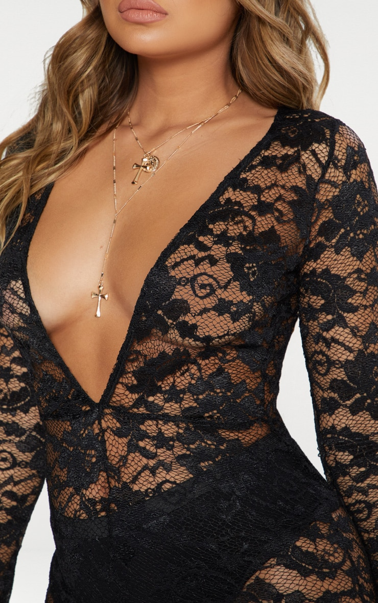 Black Lace Plunge Front Jumpsuit 4