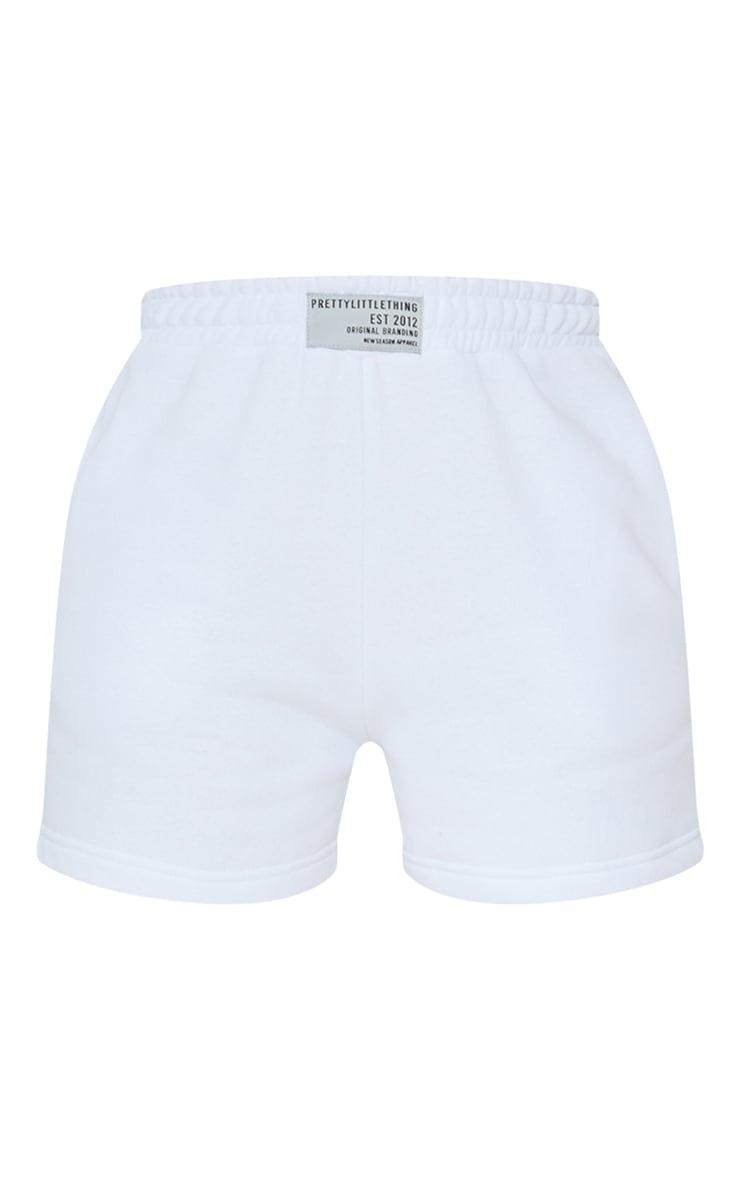 PRETTYLITTLETHING White Badge Sweat Shorts 6