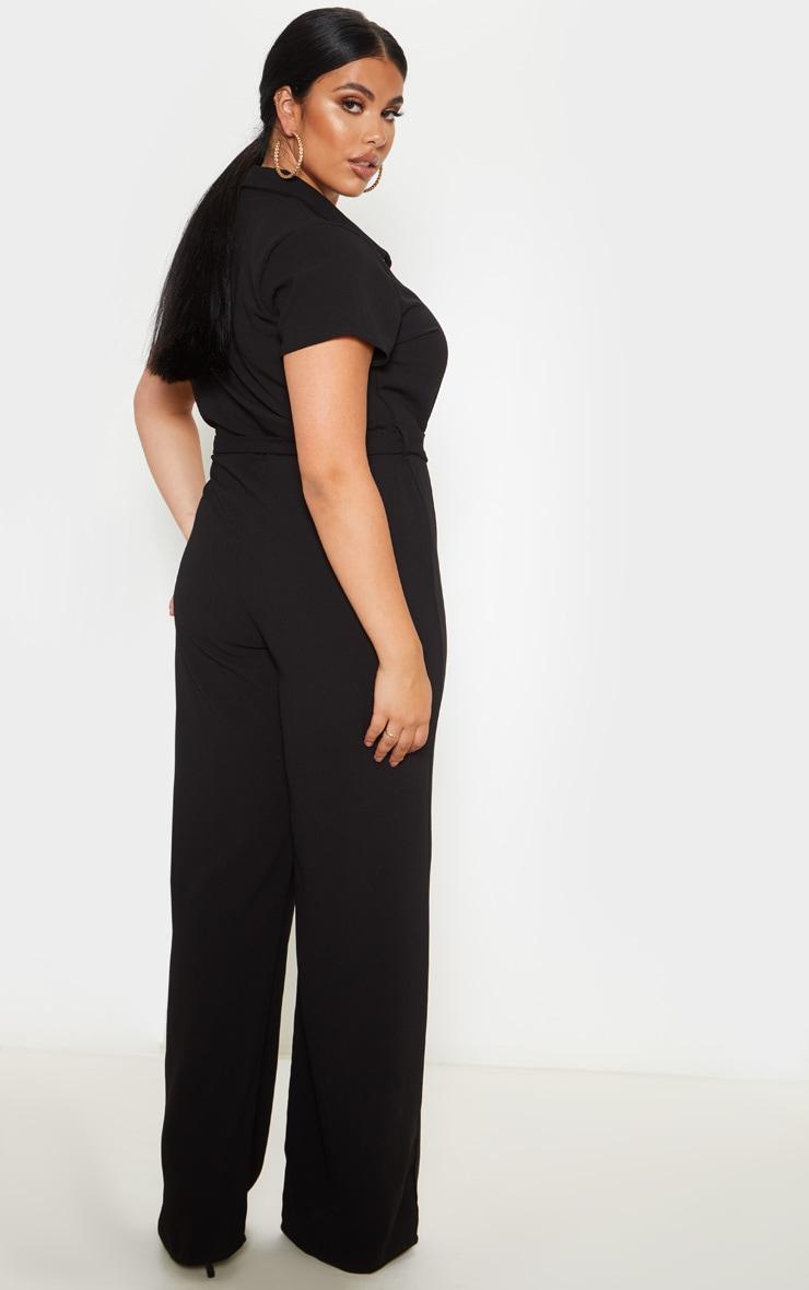 Plus Black Button Front Belt Detail Jumpsuit 2
