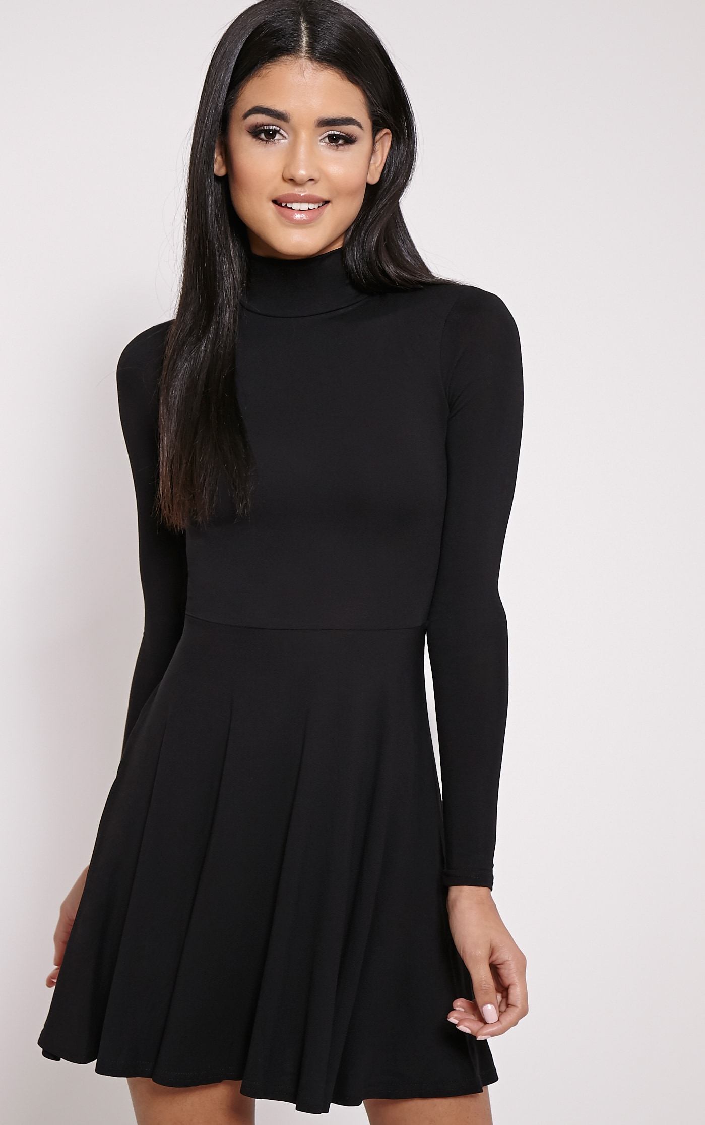 Petite Basic Black High Neck Jersey Dress 1