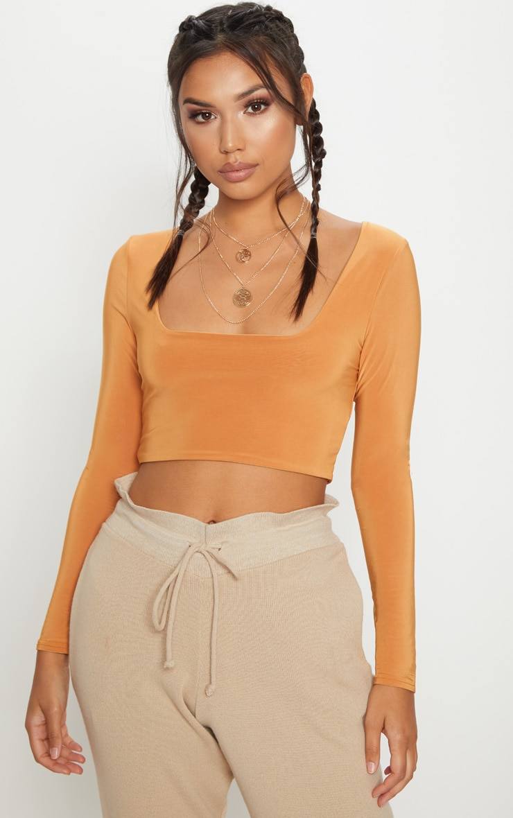 Tangerine Second Skin Square Neck Long Sleeve Crop Top  4