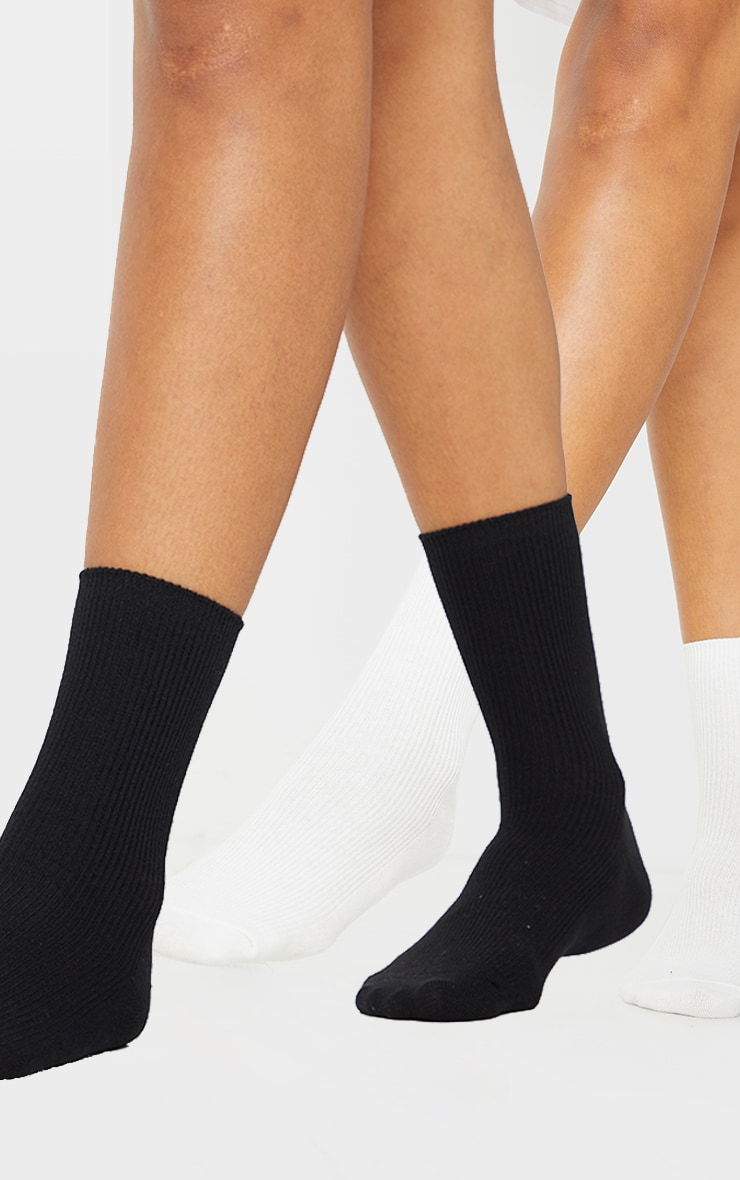 Black and White Two Pack Sports Socks 4