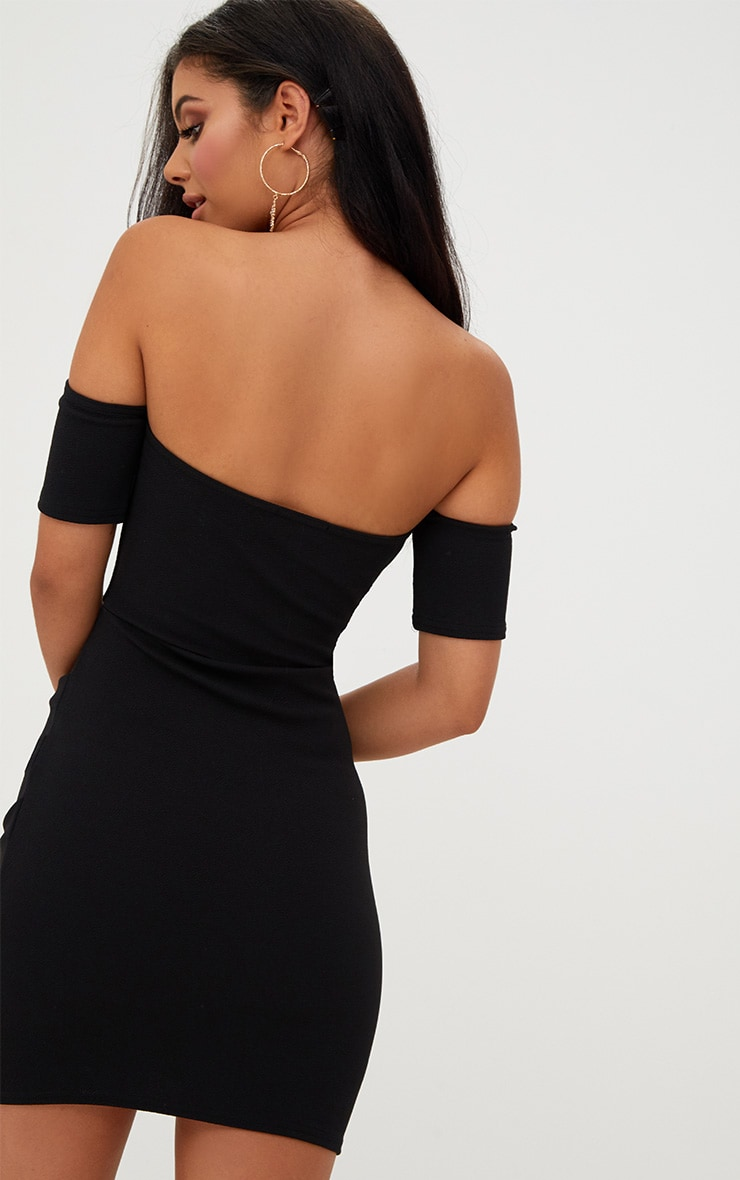 Black Bardot Wrap Front Bodycon Dress 2