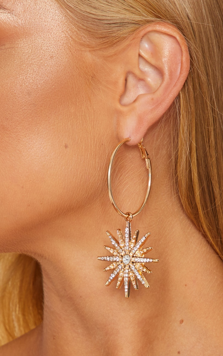 Gold Crystal Star Hoops
