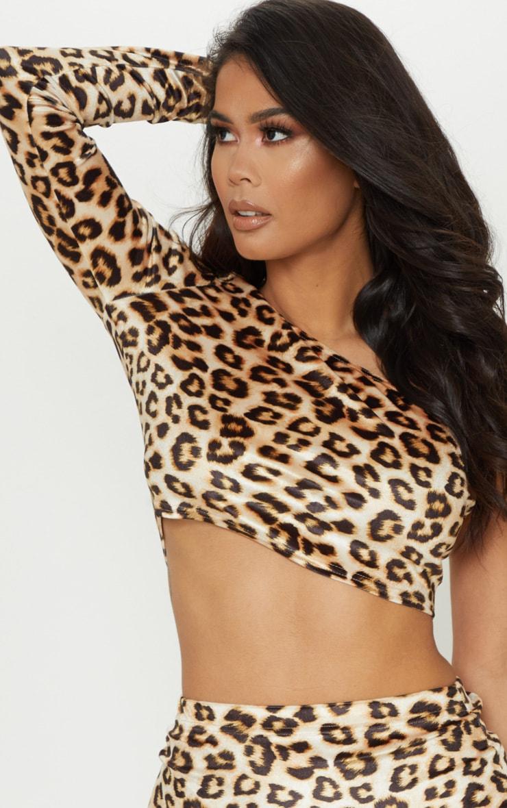 Tan Velvet Leopard Print One Shoulder Top 5