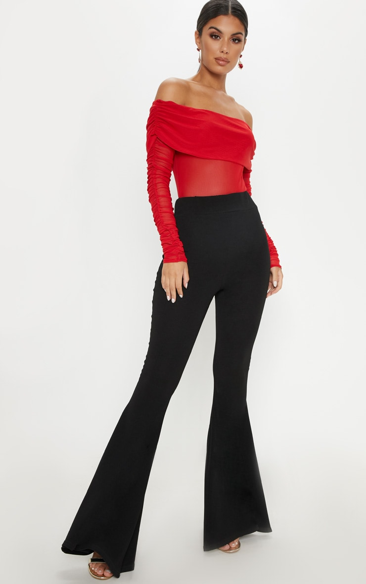Red Mesh Bardot Ruched Sleeve Bodysuit 5