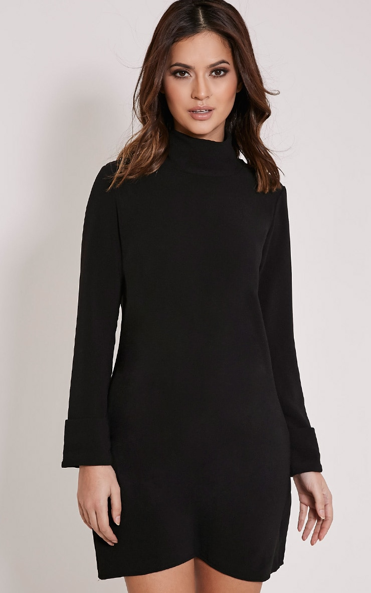 Nickie Black Roll Neck Shift Dress 1