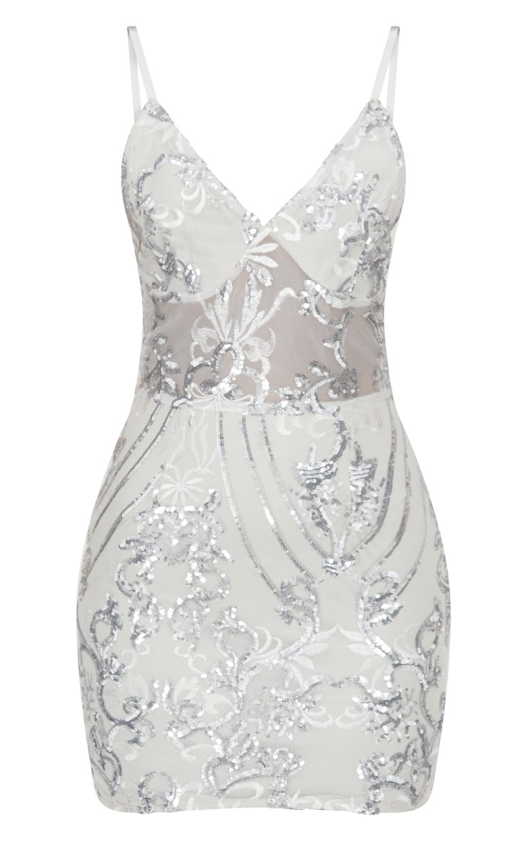 Silver Strappy Sheer Panel Sequin Bodycon Dress 3