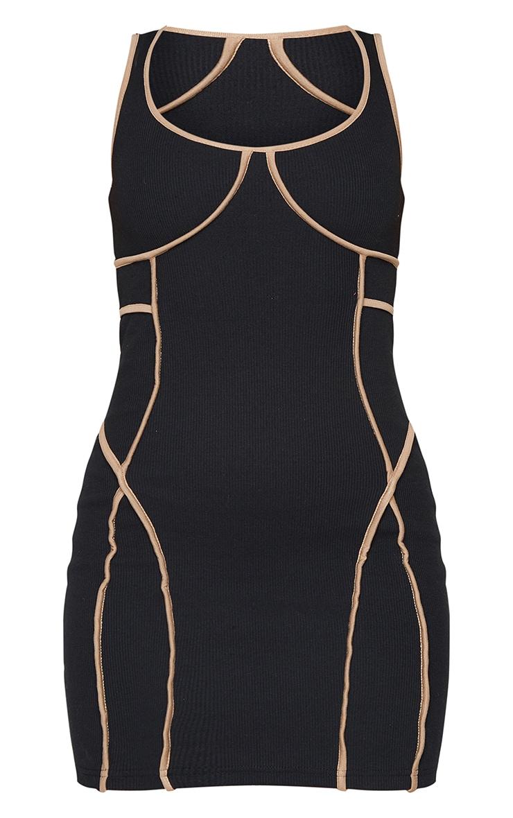 Black Rib Contrast Binding Detail Sleeveless Bodycon Dress 5