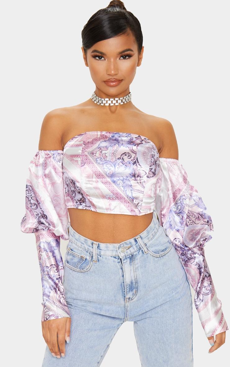 Blush Pink Scarf Print Satin Bardot Puff Sleeve Crop Top 1