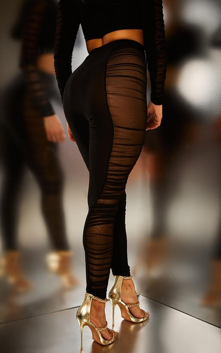 Black Mesh Side Panel Leggings 4