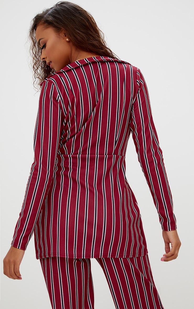 Petite Burgundy Stripe Belt Detail Blazer 2