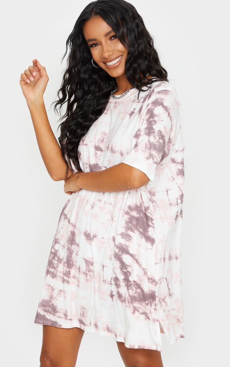 Blush Tie Dye Print T Shirt Dress 3