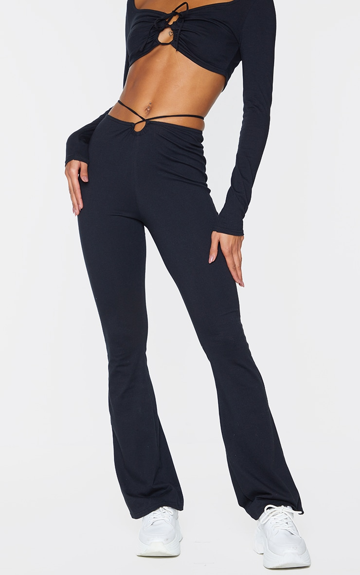 Black Cotton Cut Out Waist Skinny Flared Pants 2