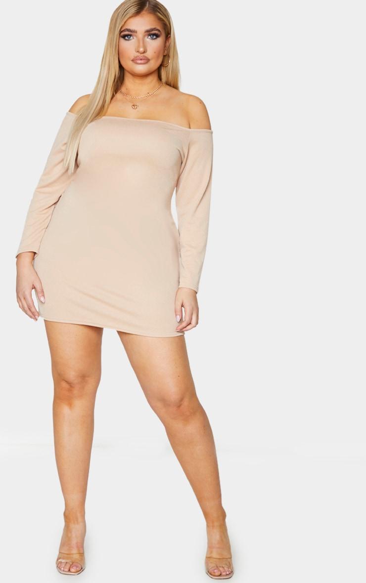 Plus Stone Bardot Bodycon Dress 3