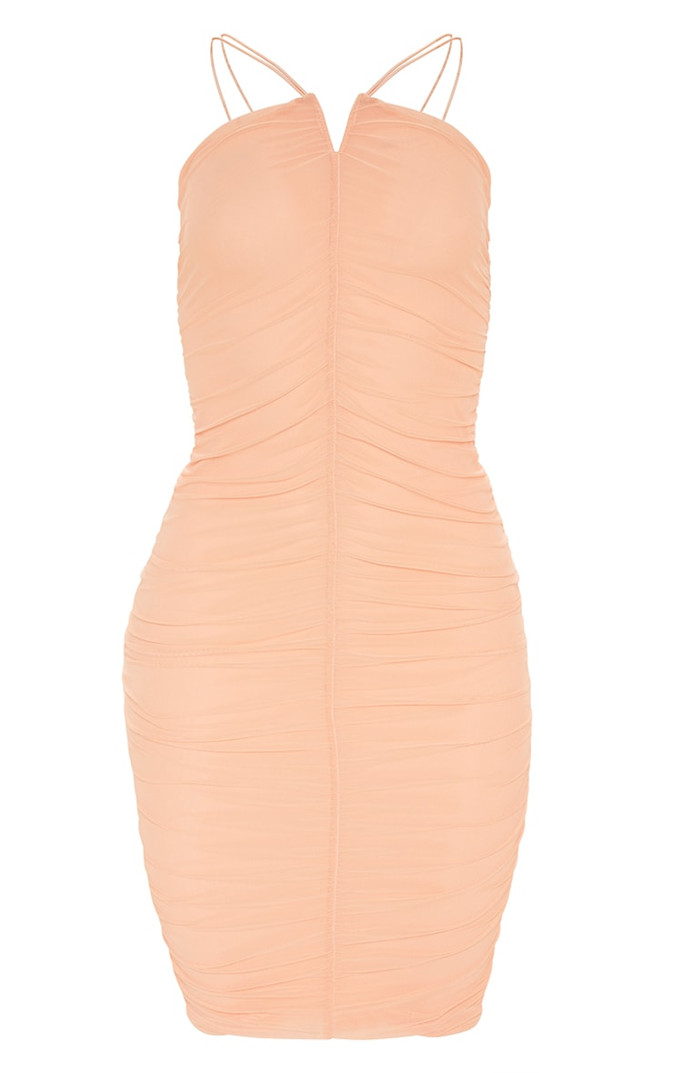 Plus Peach Second Skin Ruched Mesh Double Strap Midi Dress 3