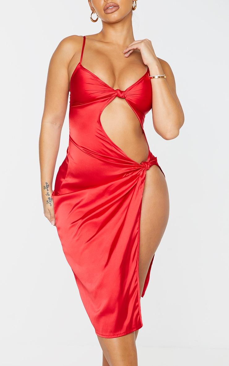 Shape - Robe mi-longue satinée rouge à fente et détail noeud 4