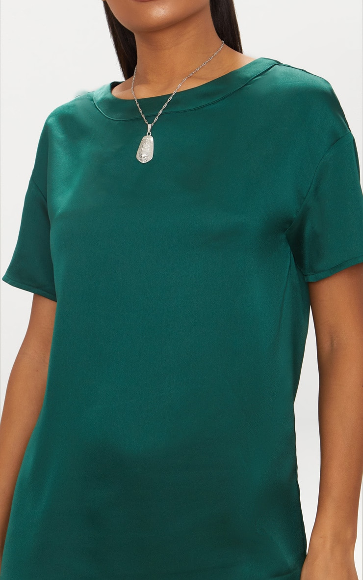 Emerald Green Satin T-shirt Dress 5