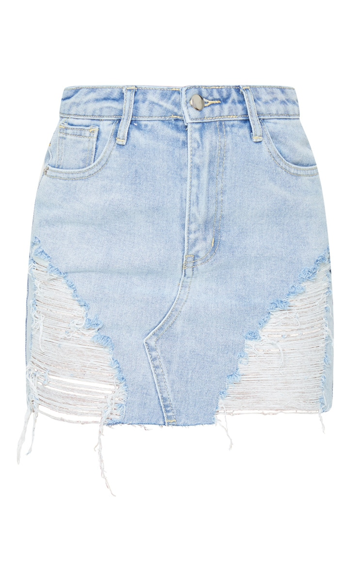 Petite Light Blue Wash Distressed Mini Denim Skirt 6