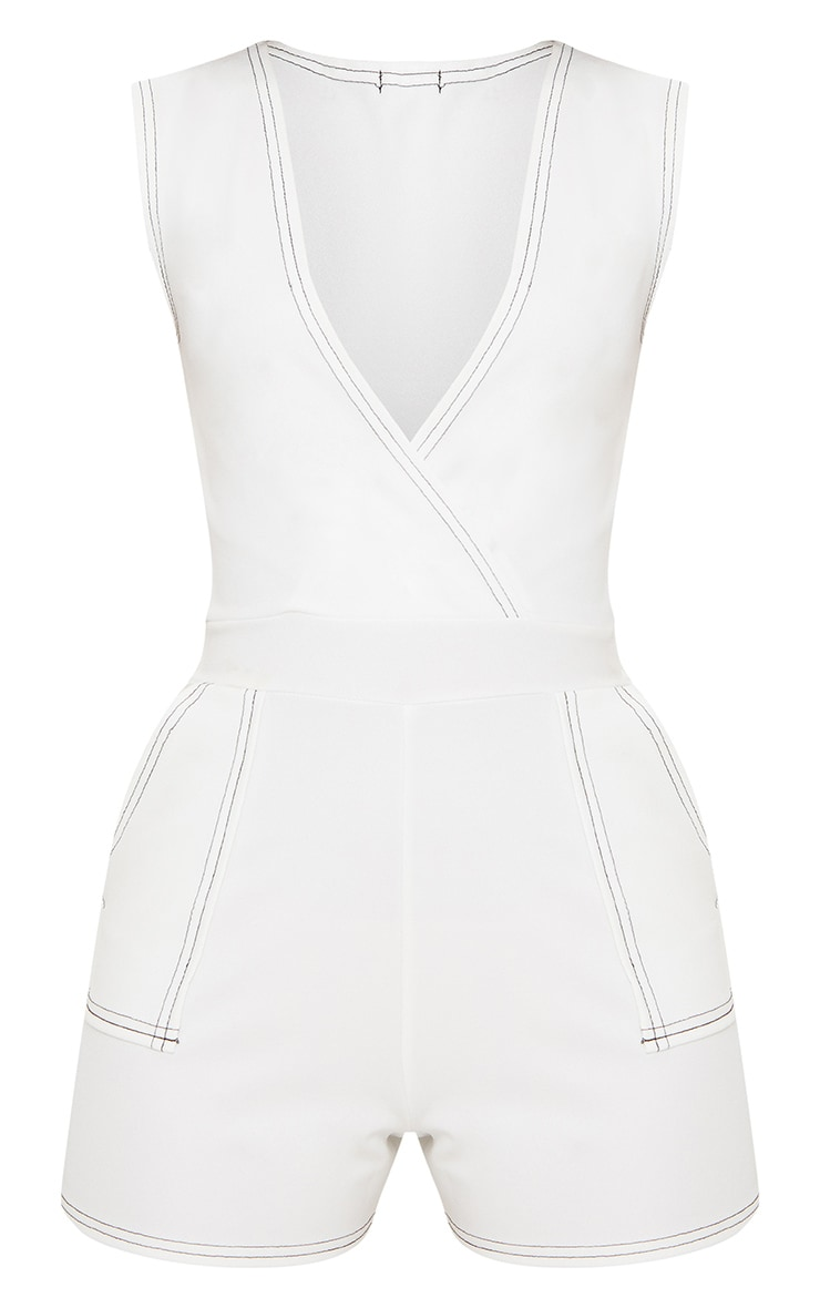 Petite White Contrast Stitch Playsuit 3