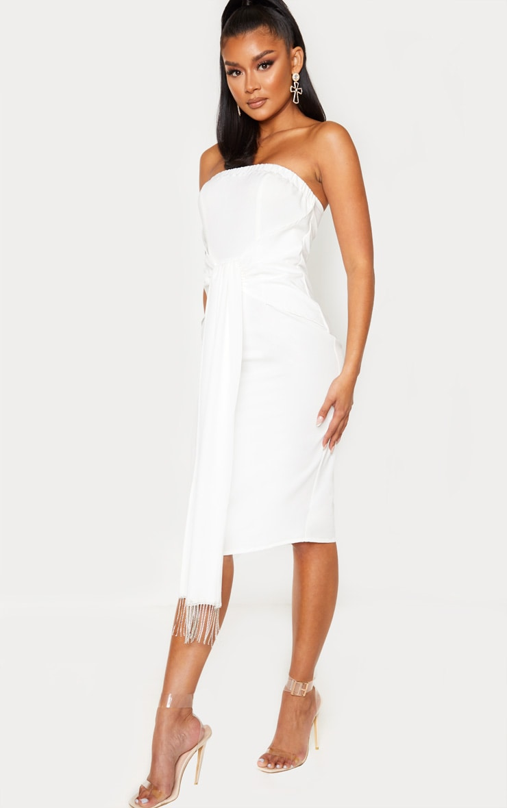 White Jewelled Tassel Bandeau Drape Midi Dress 4
