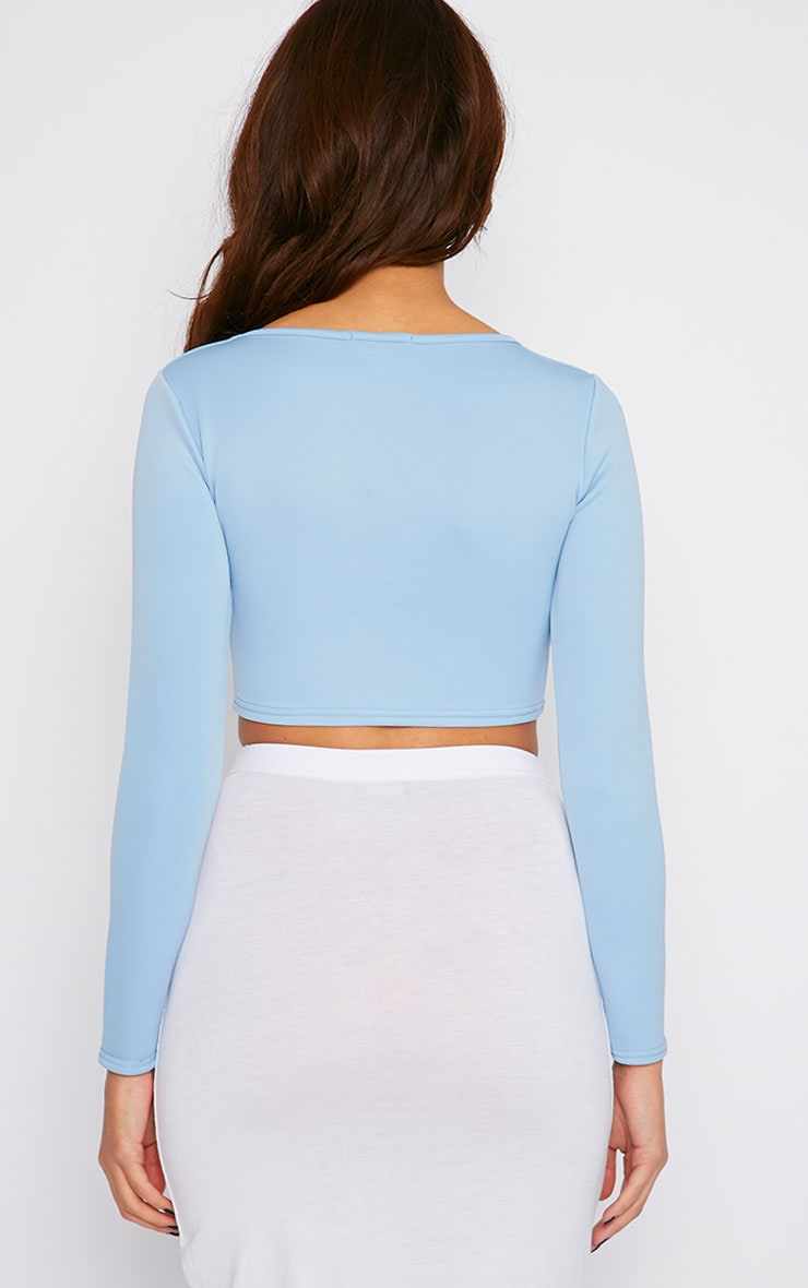 Honi Blue Sweetheart Scuba Crop Top  2
