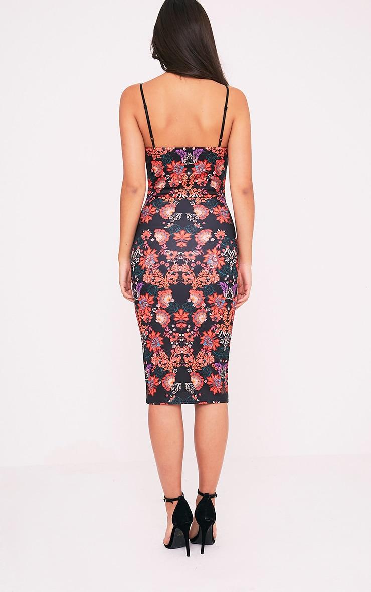 Elouise Black Oriental Print Midi Dress 2