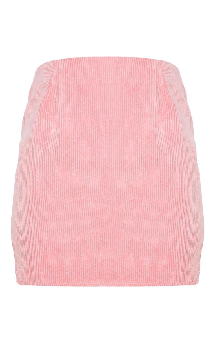 Pink Cord Mini Skirt 3