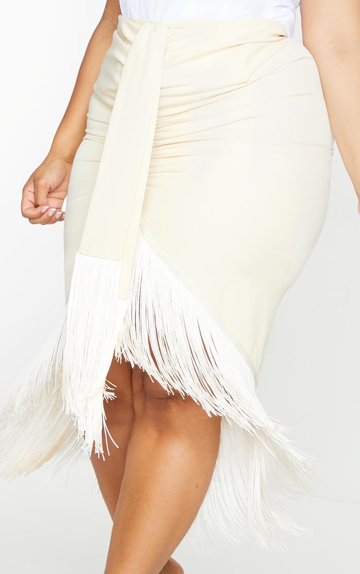 Plus Cream Tassel Hem Midi Skirt 4