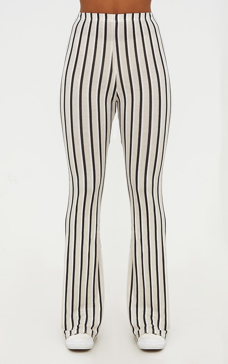 Stone Jersey Pinstripe Flared Trousers 2