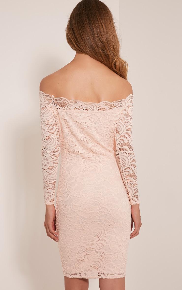 Alice Nude Bardot Lace Midi Dress 2