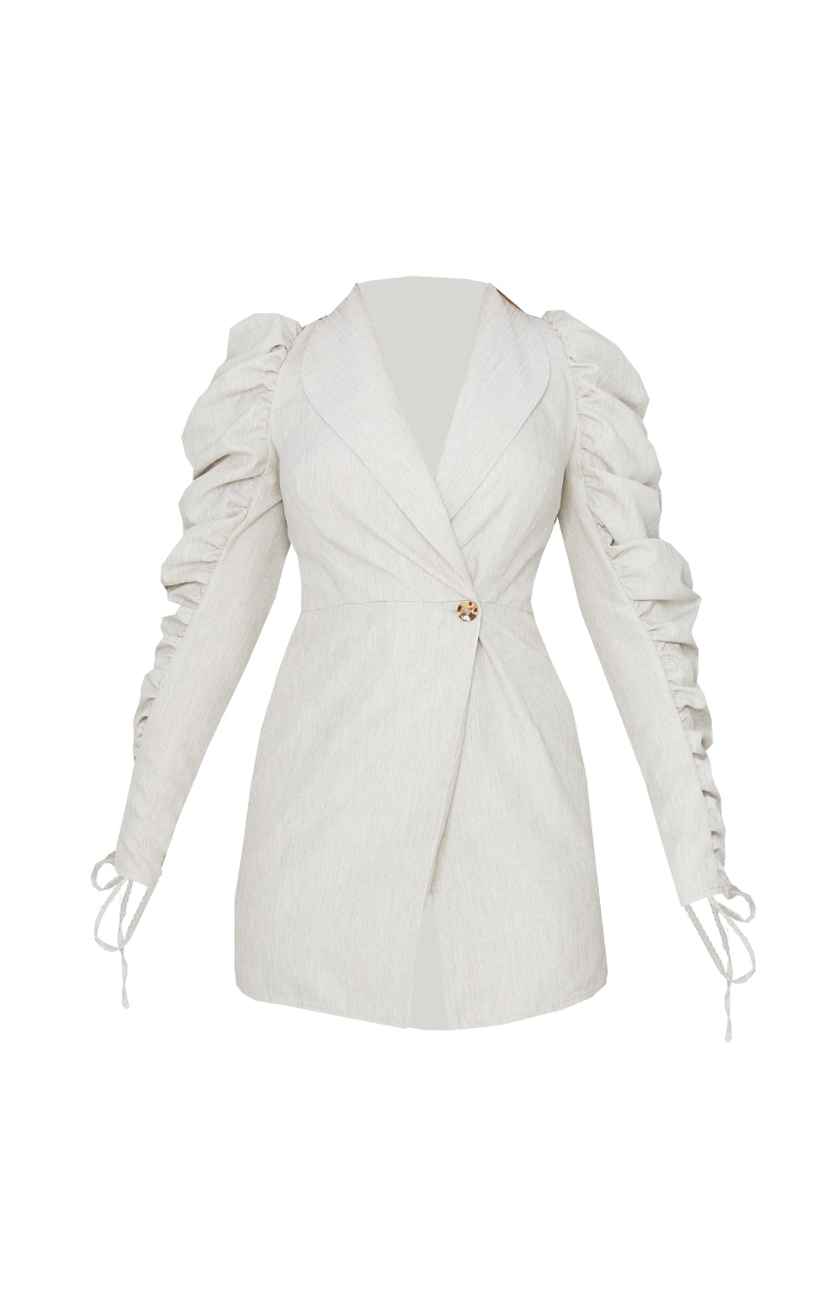 Stone Linen Puff Ruched Sleeve Blazer Style Bodycon Dress 5