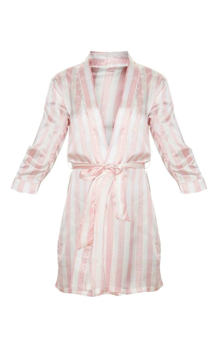 PRETTYLITTLETHING Baby Pink Striped Satin Robe 2