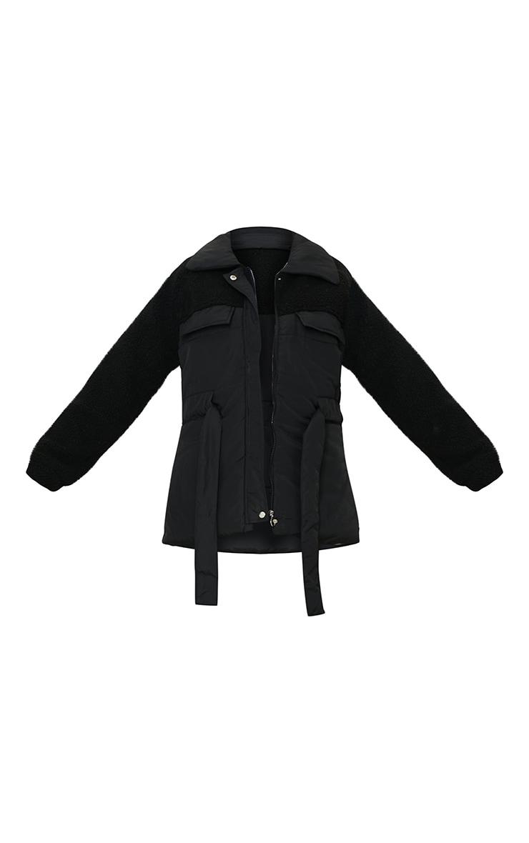 Black Nylon Contrast Borg Cinched Waist Puffer Jacket 5